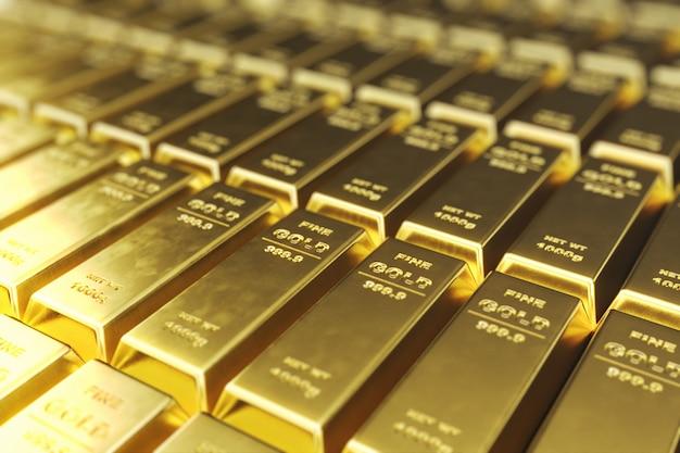 Стек крупным планом золотые слитки, вес золотых слитков 1000 грамм понятие богатства и запаса. концепция успеха в бизнесе и финансах. 3d-рендеринг