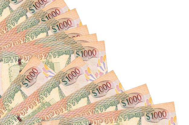 1000 가이아나 달러 지폐 팬에 쌓인 복사 공간 흰 벽에 고립 된 거짓말을 닫습니다. 급여일 시간 개념 또는 재무 운영
