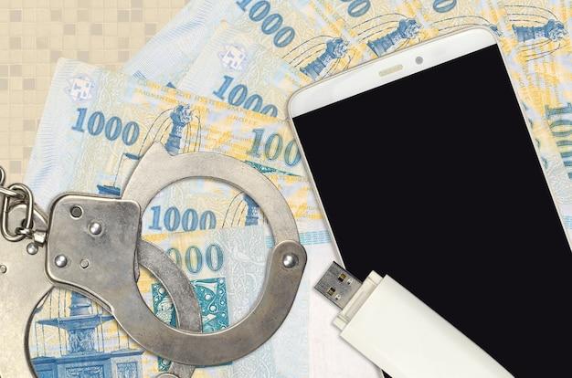 1000ハンガリーフォリント紙幣と警察の手錠付きスマートフォン
