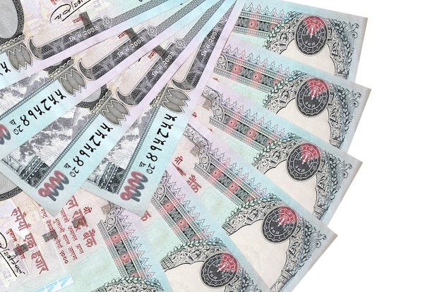 1000 nepalese rupees bills lies isolated on white