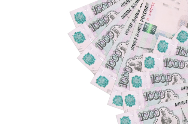 1000 russian rubles bills lies isolated on white