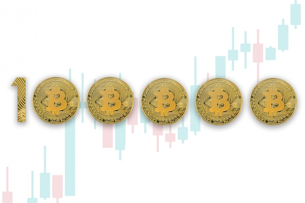 100000 bitcoin exchange rate, isolated. crypto currency style for design. trading charts background