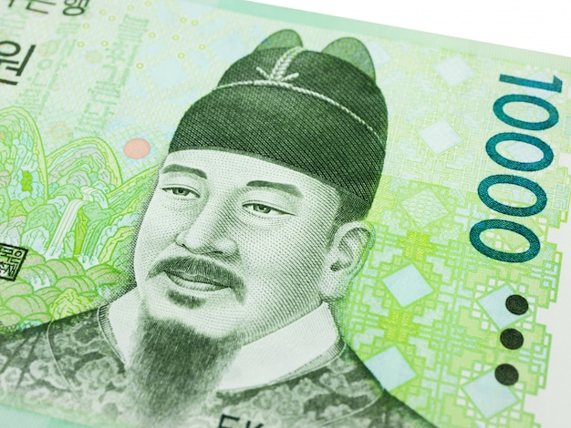 韓国10000ウォン紙幣通貨クローズアップマクロ、韓国のお金。