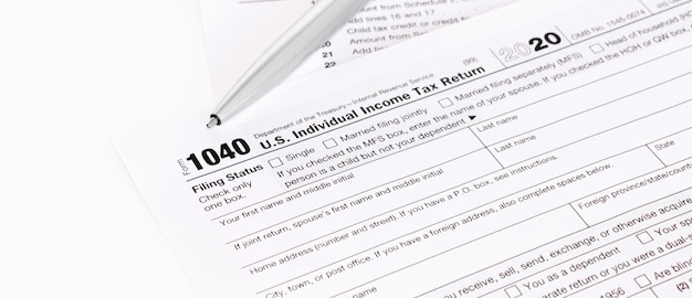 1040 tax form being filled out.