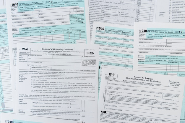 1040 tax form close up on desk. tax time. taxes concept