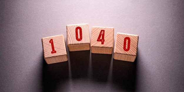 1040 word written on wooden cubes