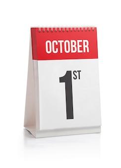 10月の月の日カレンダーの最初の日