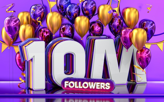 10m followers celebration thank you social media banner with purple and gold balloon 3d rendering