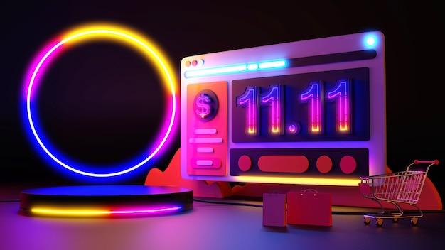 11.11 네온 불빛 온라인 쇼핑. 3d 렌더링