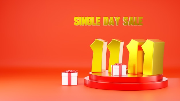 1111 single day sale banner 11 number on podium scene with gift box 3d illustration