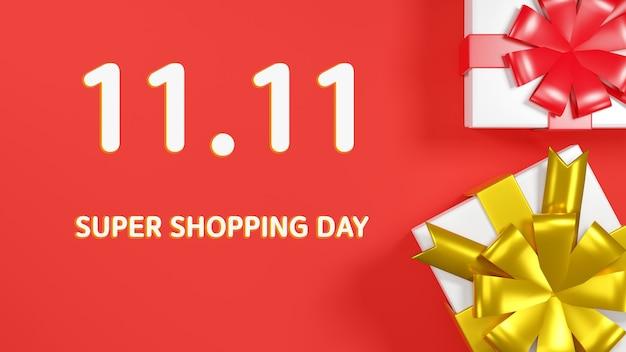 1111 single day sale banner gift boxes 3d render illustration