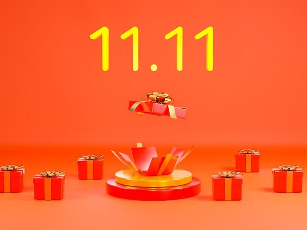 1111表彰台のシーンの3dイラストに赤いギフトボックスと1日セールバナー