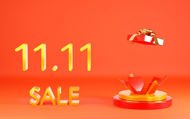 1111 single day sale banner with red gift box on podium scene 3d illustration