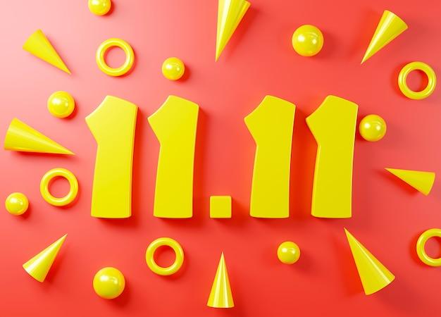 1111 단일 하루 판매 축제 개념 배너 노란색 1111 번호 3d 렌더링 그림