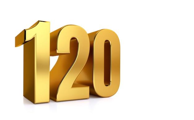 白い背景とテキストの右側にコピースペースの120、3 dイラストレーションゴールデン番号120