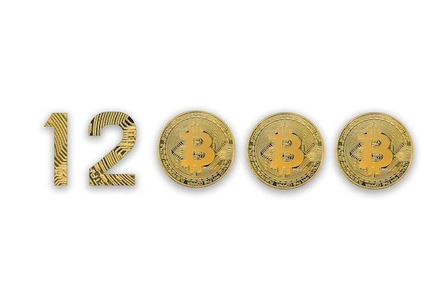 Курс обмена 12000 биткойнов, изолированный. стиль криптовалюты для дизайна.