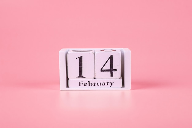 14 february calendar on pink . love, wedding, romantic and happy valentine day holiday concept