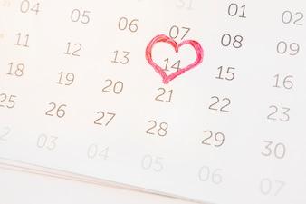 14 February marked on calendar