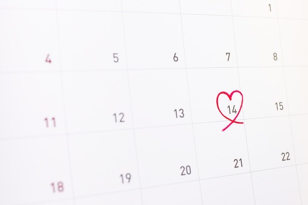 14 feburary with pink heart on calender