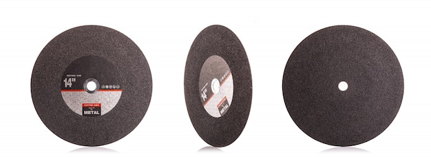 14 inch new black cutting disc for metal isolated on white