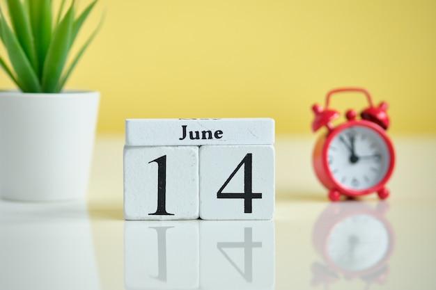 14 четырнадцатый день июнь месяц календарь концепции на деревянных блоках.
