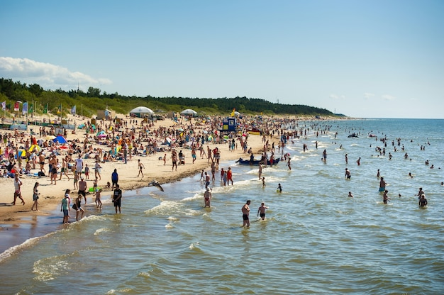 15 august 2017, palanga, lithuania. crowded beach in summer hot bright summer day