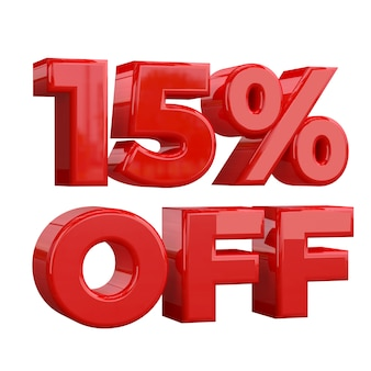 15% off on white background, special offer, great offer, sale. fifteen percent off promotional