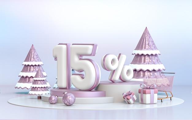 15-процентное зимнее специальное предложение со скидкой фон для рекламного плаката в социальных сетях 3d-рендеринга
