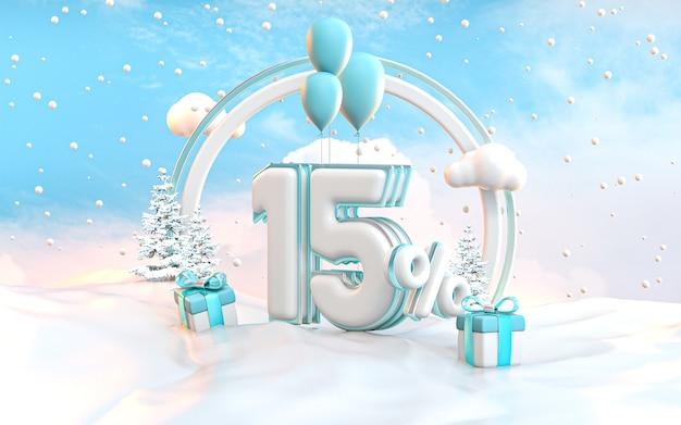 ソーシャルメディアプロモーションポスター3dレンダリングの15%冬の特別オファー割引の背景