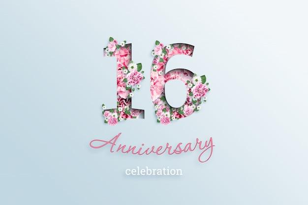 碑文16番号と記念日のお祝いtextis花、ライト