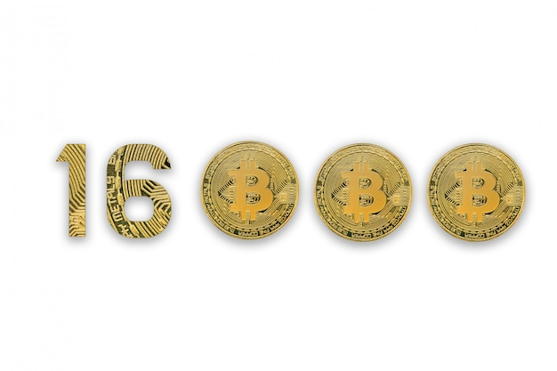 16000 bitcoin exchange rate, isolated. crypto currency style for design.