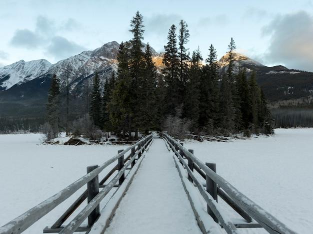 凍った湖、ピラミッド湖、ピラミッド島、ハイウェイ16、ジャスパー、ジャスパー・ナチオの雪に覆われた橋