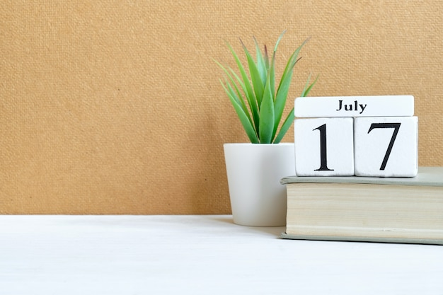 17th july - seventeenth day month calendar concept on wooden blocks with copy space.