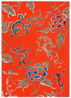 著名な花鳥画家の渡辺誠亭による、美術史(1893-1896)の花柄。桁