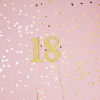ピンクの背景を持つ18歳の誕生日