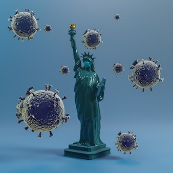 自由の女神像手術用マスク。コロナウイルスコヴィッド19からアメリカを救う。3dレンダリング。