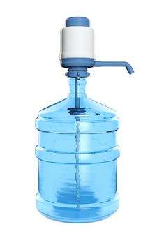 Бутылка 19 литров чистой питьевой воды с ручным водяным насосом на белом фоне