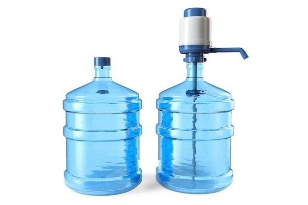 19 литров бутылки питьевой воды с ручным водяным насосом и крышкой на белом фоне