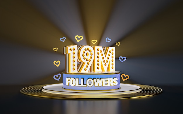 Празднование 19 миллионов подписчиков спасибо баннер в социальных сетях с золотым фоном прожектора 3d
