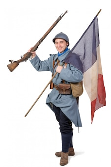 1918 french soldier with  rifle and tricolor flag on  white