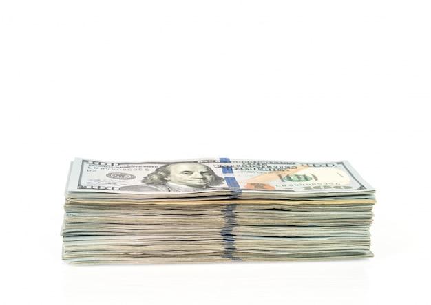 白い背景の上の1つの百ドル紙幣