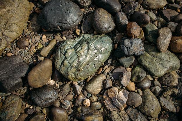 小さなカラフルな小石の1つの大きな灰緑色の玉石