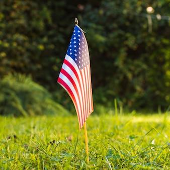 公園の緑の芝生の上の1つのアメリカアメリカ国旗