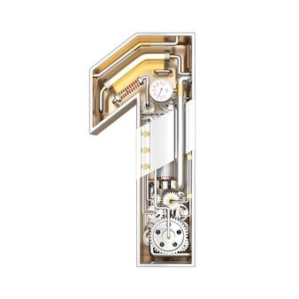 Механический алфавит, номер 1 на белом фоне с обтравочный контур