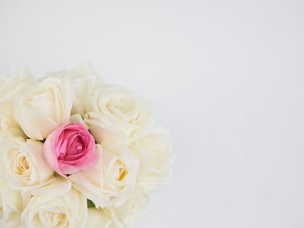 白いバラの花と1つのピンクのバラの花