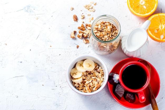 朝食グラノーラ、コーヒー1杯