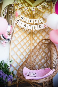 1歳の誕生日を祝います。最初の誕生日を祝うための写真の背景