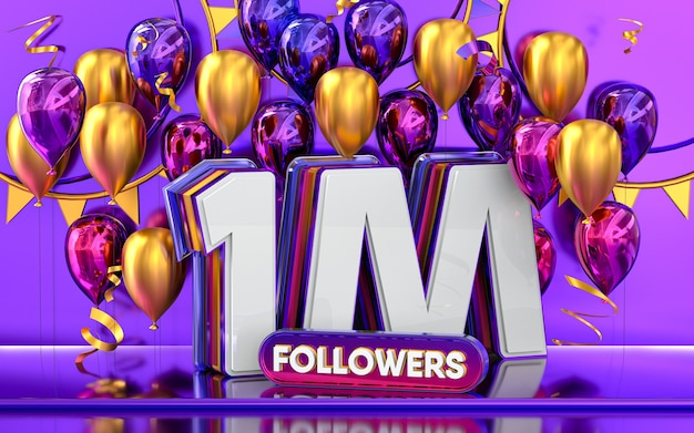 1m followers celebration thank you social media banner with purple and gold balloon 3d rendering