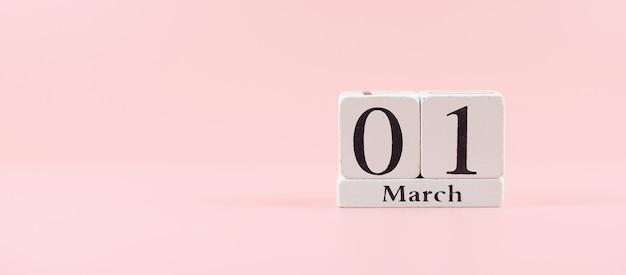 1 марта календарь с копией пространства для текста. концепция любви, равноправия и международного женского дня