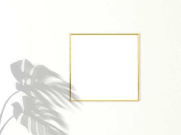 1x1 square gold frame for photo or picture mockup on white background with shadow of monstera leaves. 3d rendering.